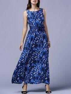 Blue Rose V-Back Maxi Dress - Blue
