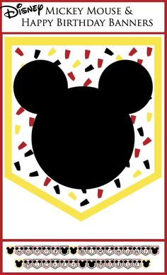 Disney Mickey Mouse and Happy Birthday Banners (2 free printable banner options) Fun Mickey themed birthday party.
