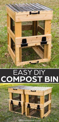 Compost is gold for your garden soil. Building a compost bin is so easy to build. Start composting your own rich organic garden fertilizer... #kippiathome #diycompostbin #compostbin