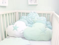 Baby cot bumpers, clouds cushions in mint, white and grey by LittleFoxForBaby, EUR Baby Cot Bumper, Crib Bumpers, Cloud Cushion, Small Cushions, Triangle Design, Backrest Pillow, Nursery Room, Baby Sewing, Cribs