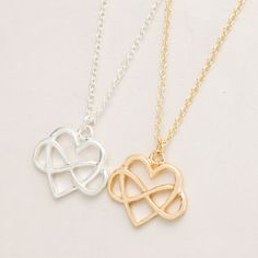 2016  Infinity Heart Necklace Silver Plated Love Necklace Bridesmaid Gifts 30pcs-N130