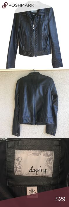 Daytrip Faux Leather Zip Jacket Sexy little fitted faux leather jacket with zipper. Factory distressed edges. EUC. Daytrip Jackets & Coats