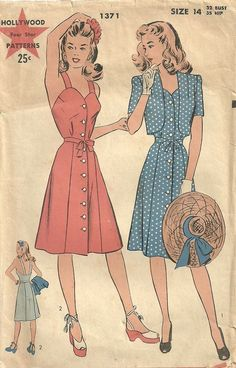 Hollywood 1371 Vintage 40s Sewing Pattern by studioGpatterns, $18.50