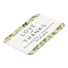 Thank You Flowers Leaves Blossoms Blue Magnet