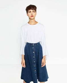 ZARA - WOMAN - RETRO DENIM SKIRT  I am absolutely obsessed with this skirt. I have been looking for one like this for 3 months. And this one is perfect. AHHHHHH!!!!!!!!!!