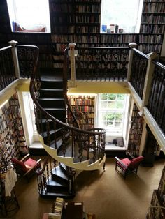 Bromley House Library in Nottingham, England. A particularly fine spiral staircase and gallery is a feature of the largest room. The Library contains about 40,000 books: local history, topographical works, and a wide selection of 19th and early 20th centu