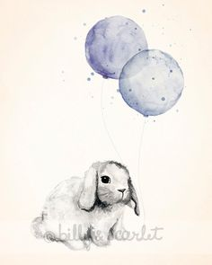 Baby Boy Nursery Art Print - 8x10 Print of Bunny Rabbit and Balloons Watercolor Illustration, Baby Boy Room Decor, Baby Nursery Art on Etsy, $20.00