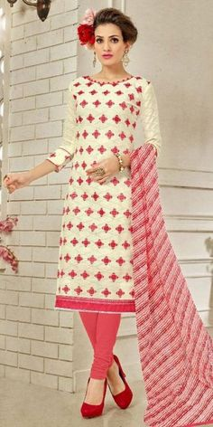 Alluring White Cotton Straight Suit With Dupatta.