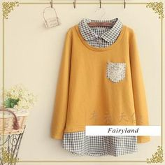 Fairyland - Inset Gingham Shirt Pullover
