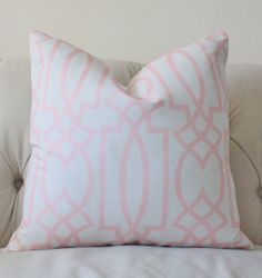 Pink Pillow - Pink and Ash Gray Geometric Trellis Designer Cover - Decorative Throw Pillow  Cover- Light Pink Pillow on Etsy, $46.00