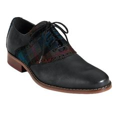 """Leather + Plaid """"Air Colton Saddle"""" by Cole Haan $198"""
