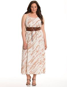 Lane Collection modernizes the silky slip dress in a sexy maxi length with eye-catching tie dye print.  A pretty pick for day or night with its scoop neck and racer back, plus a wide, faux leather belt to tie it all together. Adjustable straps.  lanebryant.com