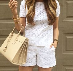 Short Outfits, Chic Outfits, Summer Outfits, Fashion Outfits, Womens Fashion, Fashion Trends, Eyelet Top, Eyelet Shorts, White Eyelet Dress