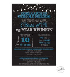 Chalkboard Style, with Lights, Custom Printable School or Family Reunion Invitation, Pick your school colors Class Reunion Invitations, Bar Dance, Spring High School, School Reunion, School Colors, Lights, How To Plan, 50th, Random Stuff