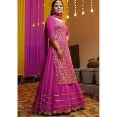 Lehenga Choli : Pink heavy georgette fully embroidered party ...
