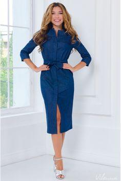 Ефектна джинсова сукня із застібанням на гудзиках і розрізом попереду •  колір  темно-синій • інтернет магазин 6f47279f57472