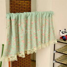 Country Style French Provincial Home Kitchen Blue Pink Rose Plaid Cafe Curtain…