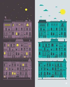 Day and Night City: removable wall stickers by Bryan Patrick Todd. Available in 2 sizes! $20