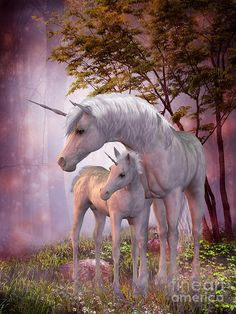Unicorn Mare And Foal Painting