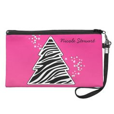 Zebra Christmas Tree Wristlet