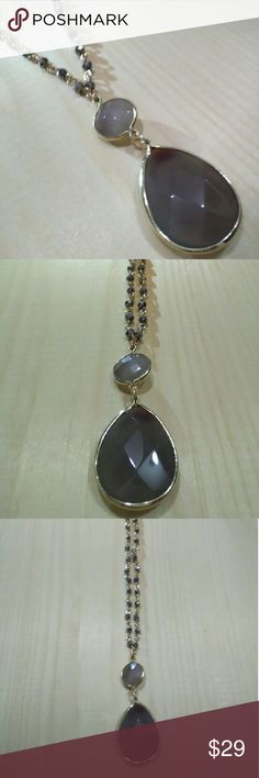 "Necklace New necklace wiht grey stone 36"" Jewelry Necklaces"