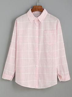 Pink Grid Drop Shoulder Blouse