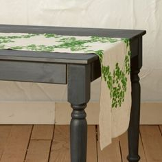 Circlets Of Lacy Maidenhair Fern Run The Length Of This Botanical Table  Runner, Each One Hand Screened In Australia Using Oat Linen.