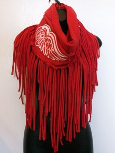 Red infinity Red Wings hockey Red Wing clothing fringe by LamaLuz, $35.00
