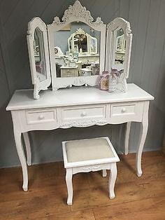 Shabby Chic White Dressing Table, Mirror & Stool French Vintage Style 801/482/49 White Dressing Tables, French Vintage, Vintage Style, French Country Style, Autumn Home, I Shop, Stool, Shabby Chic, Table Mirror