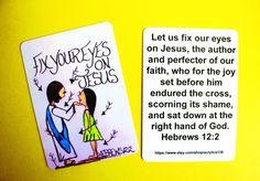 Fix your eyes on Jesus...Hebrews 12:2/mini scripture doodle bible verse memory card of encouragement/Bible verse bookmark/Bible Collector