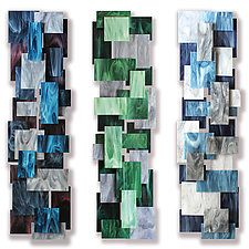 "Triptych by Karo Martirosyan (Art Glass Wall Sculpture) (48"" x 13"")"