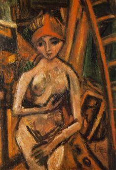 Nude with Red Turban - Bela Czobel