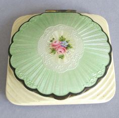 Antique ART DECO Powder and Rouge COMPACT Guilloche Enamel * Medallion with Pink Roses