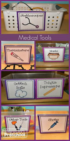 Baskets of Medical Tools for Dramatic Play Hospital Center. Kids learn so much as they negotiate their roles, discuss their health issues, use new vocabulary and interact with each other. http://hative.com/fun-pretend-play-ideas-for-kids/