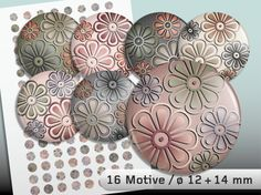 Digital Collage Sheet Vintage Blossoms 12 and 14 mm
