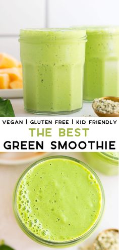 Snacks Protein The Best Vegan Green Smoothie recipe, perfect for kids as well as grown ups!Recipes Snacks Protein The Best Vegan Green Smoothie recipe, perfect for kids as well as grown ups! Smoothie Bowl Vegan, Smoothie Legume, Vegan Smoothie Recipes, Smoothie Fruit, Best Green Smoothie, Healthy Green Smoothies, Breakfast Smoothies, Smoothie Drinks, Healthy Drinks