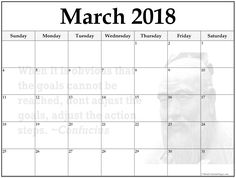 March  Monthly Calendar Template Those Who Know How To Think
