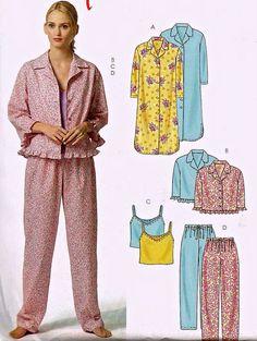PLUS SIZE Sleepwear Sewing Pattern - Easy Pajamas Nightshirt Camisole PJ Top Pants