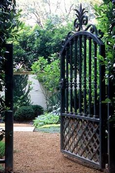 Through the garden gate (this gate looks easy to make! Lattice fencing, rail spools, trim and paint)
