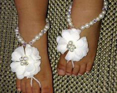 Flower girl barefoot sandals Baby foot thongs Christening by barmine | Etsy