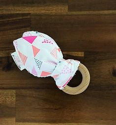 Wooden Teething Ring - Cotton Bunny Ears - Pink and White Shapes Wooden Teething Ring, Nursing Necklace, Terry Towel, Wooden Rings, Ears, Bunny, Shapes, Boutique, Fabric