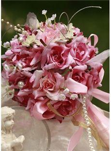 Romantique rose-rouge Etoffe de soie nuptiale bouquet de mariage