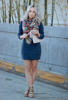 Sweater Dress | Plaid Blanket Scarf | Gigi New York Clutch | blondieinthecity.com