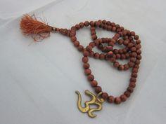 Meditation Mala Brown Goldstone 108 + 1 Beads With Brass Om Pendant Tassel Necklace, Beaded Bracelets, Necklaces, Om Pendant, Meditation Prayer, India Design, Yoga Mala, Prayer Beads, Prayers