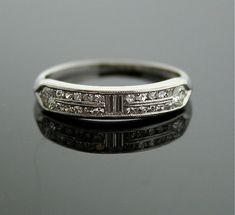 Platinum Wedding Band  Vintage Diamond Band by SITFineJewelry, $2280.00