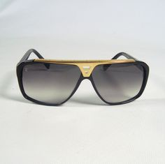 Louis Vuitton Sunglasses (Men's Pre-owned Black & Gold Aviator Sun Glasses, LV France)
