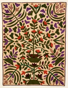 Exuberant Pot of Flowers Crib Quilt: Circa 1870