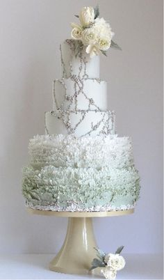 Stunning Maggie Austin wedding cake in a mint color.
