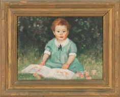 Harold C. Dunbar - Portrait Of A Young Girl With Blocks And A Book