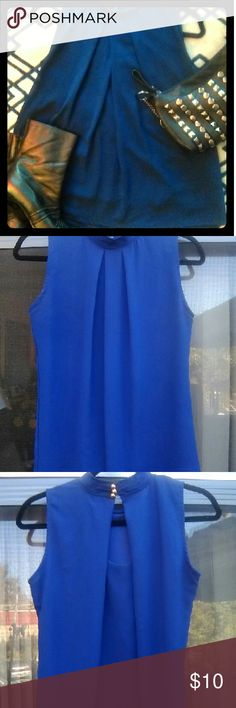 Hip Business Chic Blouse Sleeveless Brilliant Blue Fully lined Adorably cute peephole in back secure with choker-like collar having three gold buttons. Worn maybe twice,  maybe. 22inches from neck. FeiTong Tops Blouses